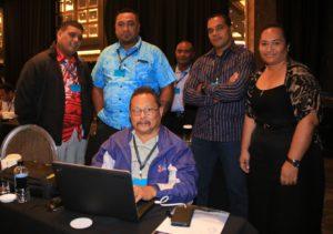 Pacific contingent at 5th GFETW Thomas Tuti'i (Palau) (sitting), Justino Helgen (FSM), Feleti Tuafono (Tokelau), Launoa Gataua (Niue) and Losaline Loto'ahea (Tonga) (Credit: F. Tauafiafi)